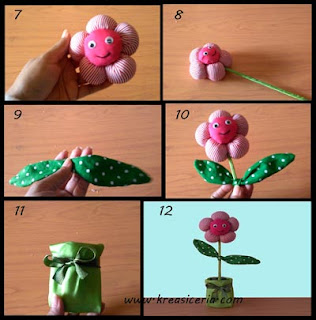 Tutorial bunga pom-pom dari bahan kain perca part 2