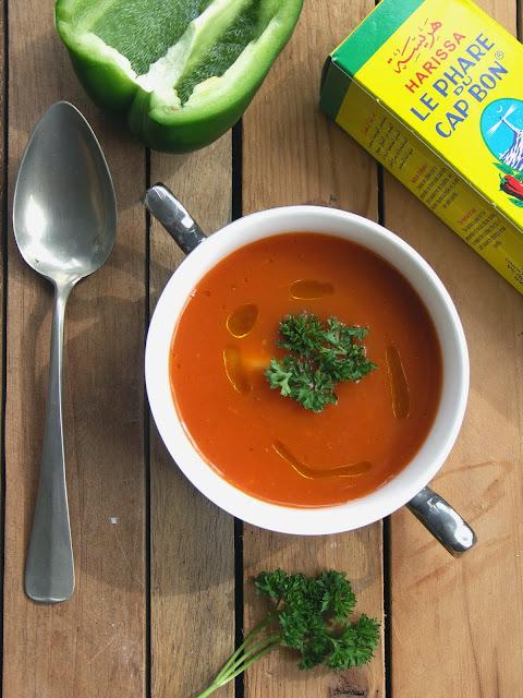 soep geroosterde paprika tomaten