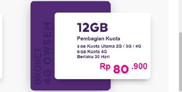 Paket Bronet 4G Owsem AXIS 12GB Terbaru 2019