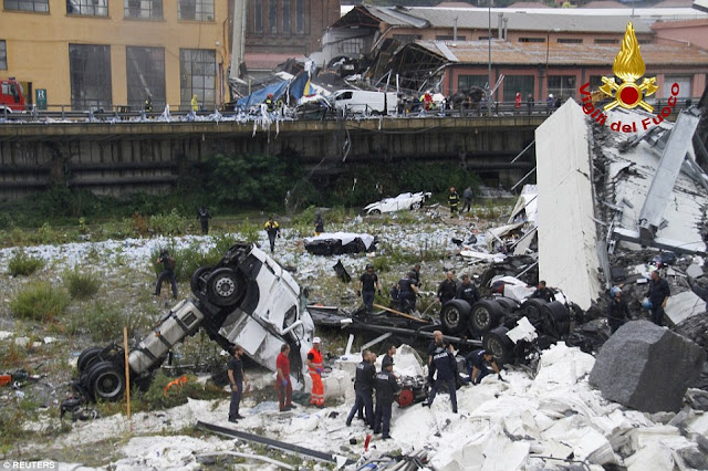 Italian motorway structure collapses onto houses 300 ft below 4F168BAA00000578-6058937-image-a-77_1534254294373