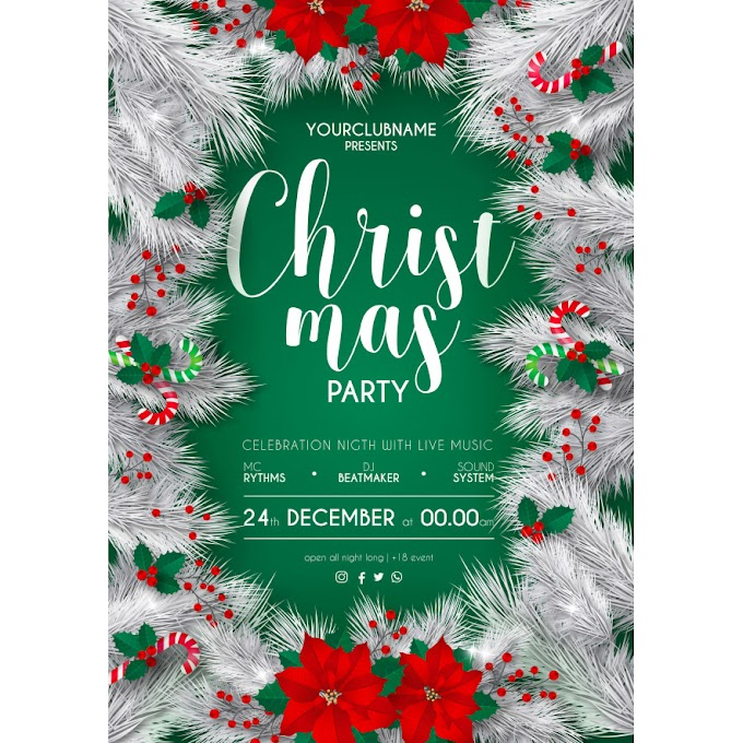 Elegant white and green christmas party poster template Free Vector