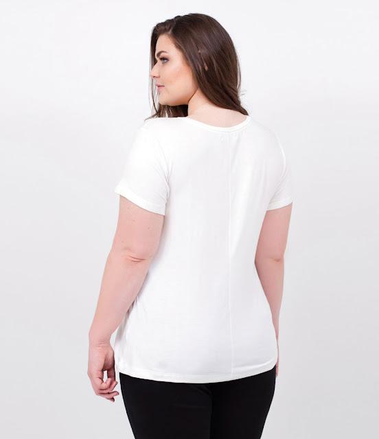 Moda Blusa Básica Curve Plus Size