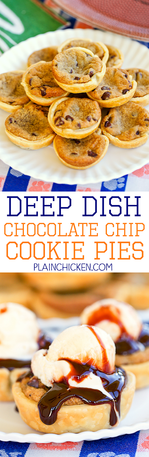 Deep Dish Chocolate Chip Cookie Pies - only 2 ingredients!! SO easy and SOOOO delicious! Top with ice cream and chocolate sauce to put these over the top. Great for parties and cookie swaps!