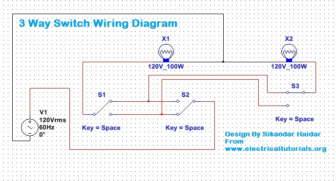 3 way switch wiring diagram explanation (urdu hindi) electrical electrical relay diagram in the above diagram i showed how to control 2 light bulbs from three switches however if still you have any difficulties then for better understanding