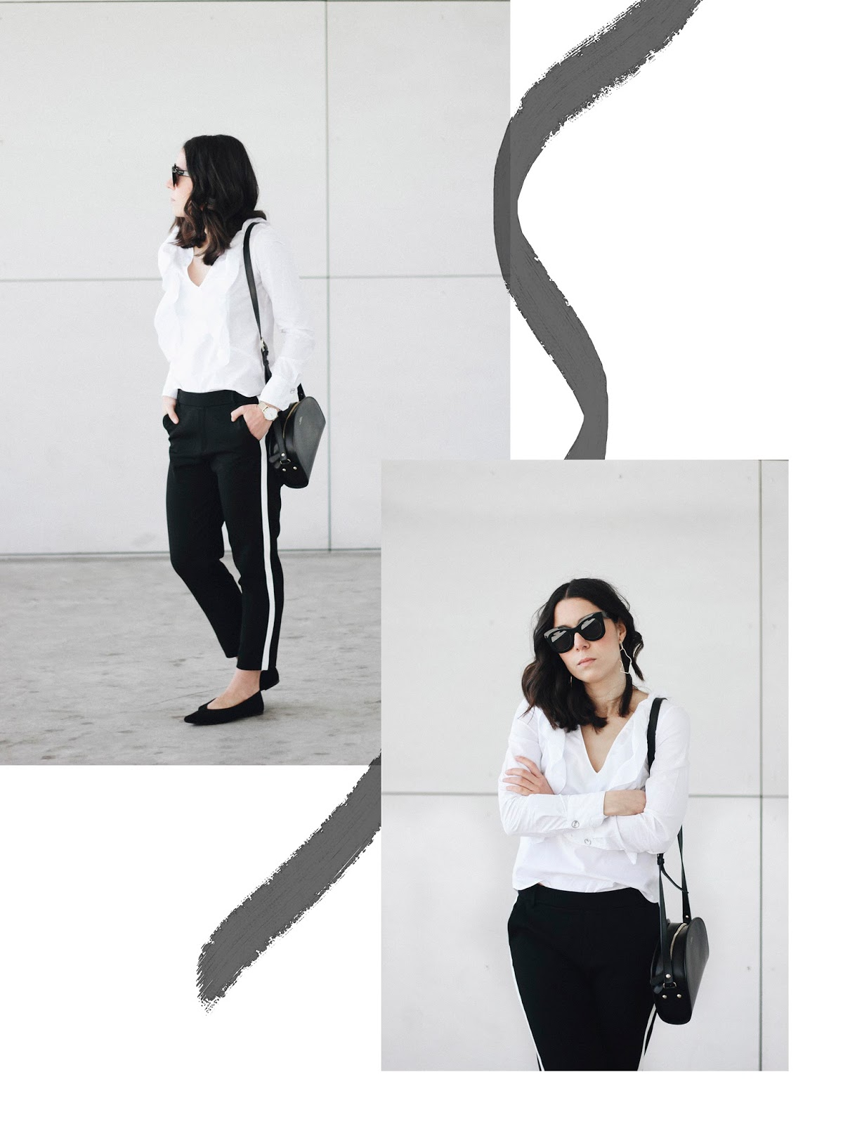 JOGGERS WITH RUFFLES SHIRT FLAT SHOES AND APC BAG