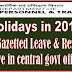 DoPT Order : List of Holiday to be observed in Central Government Offices in 2019