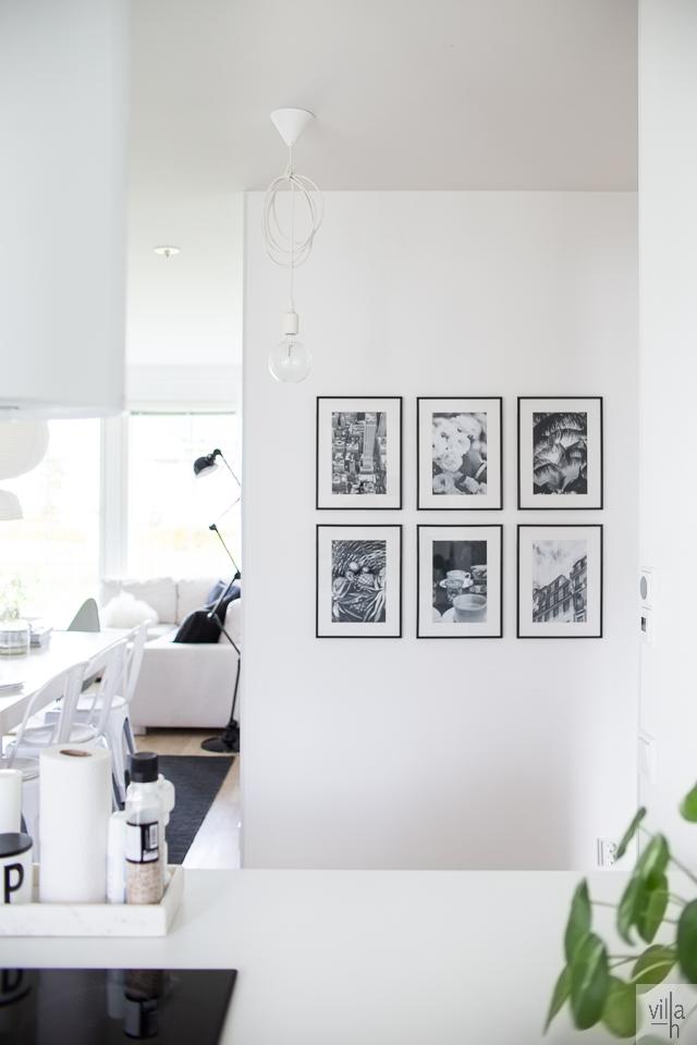 taulukollaasi valokuvista, olohuone, villa h, ruokailutila