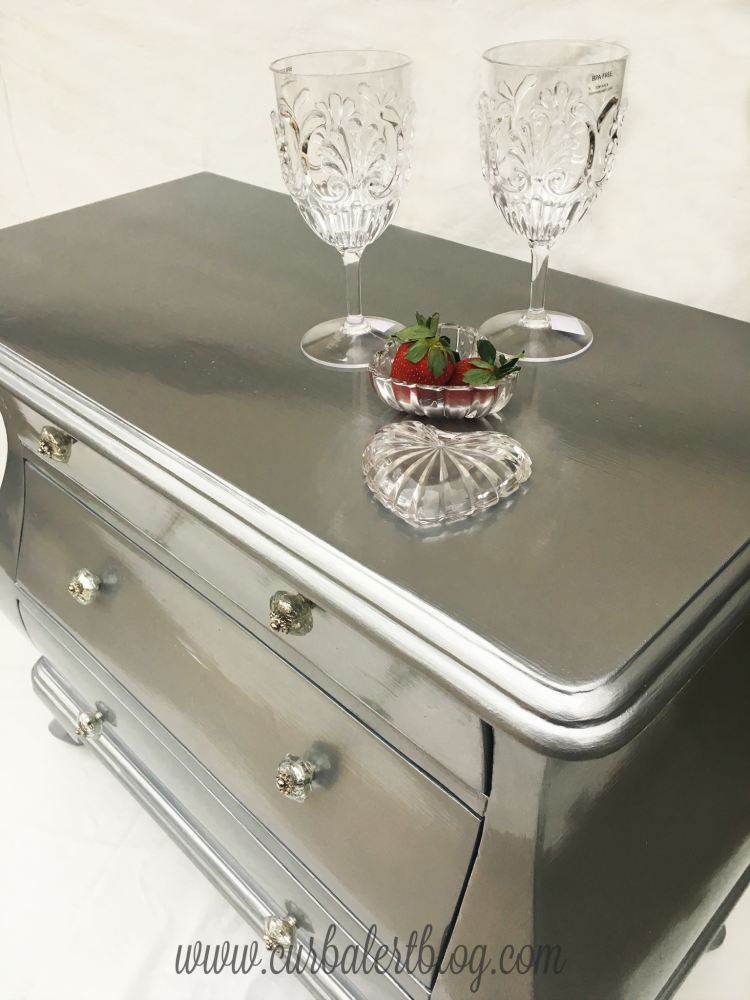 Curb alert metallic silver bombay dresser paint tutorial for How to make silver paint