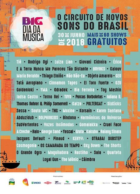 BIG Dia da Música tem mais de 12 horas de shows gratuitos no dia 30 de junho