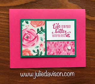 Stampin' Up! 1 Layout, 5 Cards ~ Weekend Card Challenge ~ Card Layout ~ 2018-2019 Annual Catalog ~  Petal Palette, Abstract Impressions Designer Paper ~ www.juliedavison.com