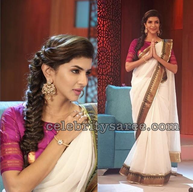 Laxmi Prasanna White Designer Saree