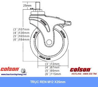 Kích thước Bánh xe càng nhựa y tế nhà hàng Colson 6 inch | STO-6854-448BRK4 sử dụng ổ bi trục ren M12*25