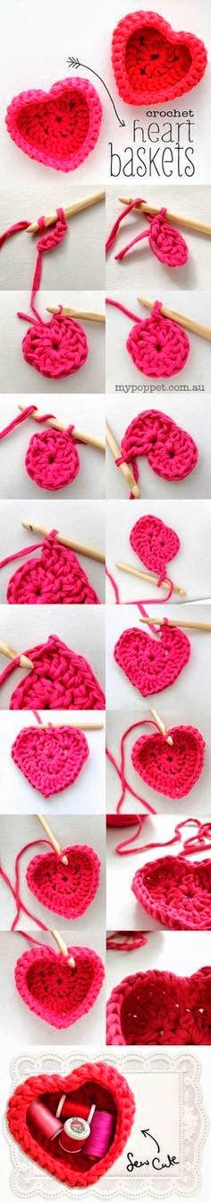 Canasta con forma de corazón al crochet