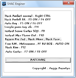 Auto Guitar + Auto CFS + Simple Hack Greget v.6097 By SHACAuto Guitar + Simple Hack Greget v.6097 By SHAC Instant Perfect : Right CTRL Perfect Beat Rush 90% With Out Combo Hack , Hack Perfect OTP : F3 ON / F4 OFF Perfect Beat Up 80% : AUTO ON Instant Auto Key : F5 ON / F6 OFF Auto Guitar : F7 ON / F8 OFF Instant Score Guitar 50.000.000 : F9 Instant Max Flame Out : F10 Auto Press Key CFS : F11 ( Tekan Arrow Saat Pada Bar Sudah Muncul ) Hack Emoticon , Move , Metronome , Face , Bypass PIN , Room master , Family Three , Hidden Song Send Kiss : F12