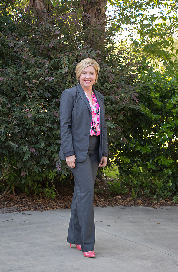 power suit with pink and coral top