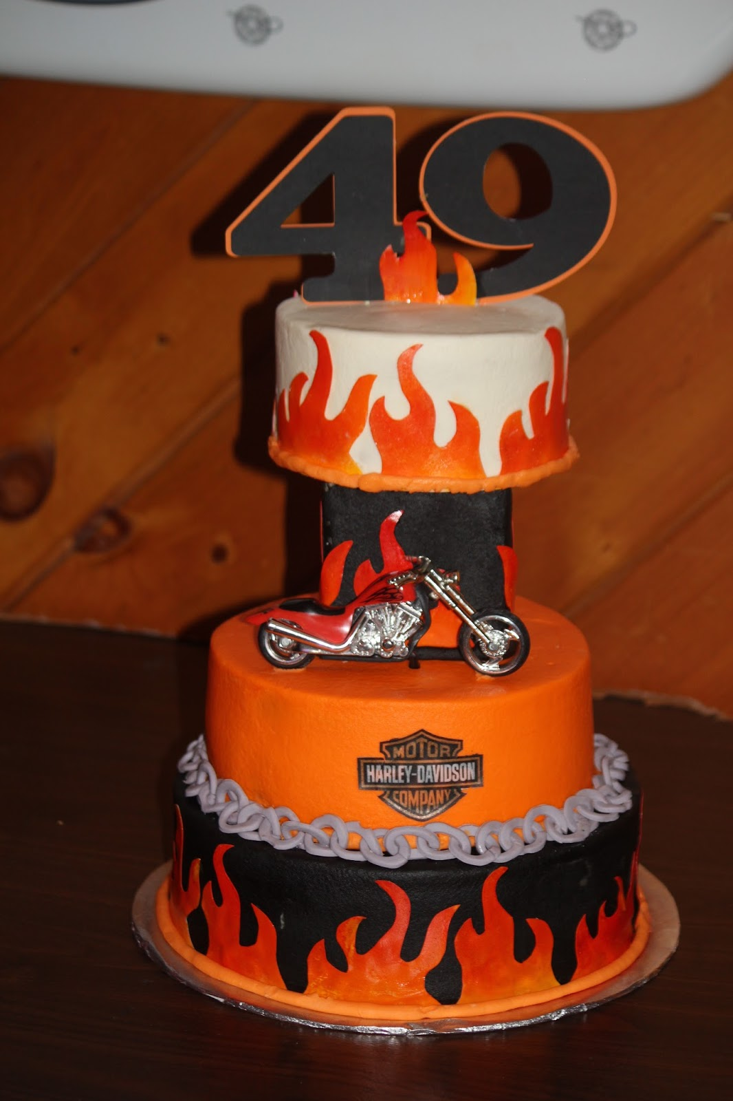 Designs By Lamuir Harley Davidson Flames Chains Birthday Cake