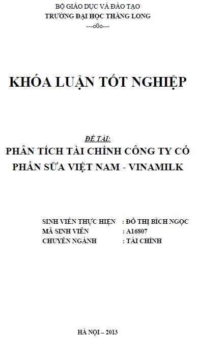 Phân tích tài chính Công ty Cổ phần Sữa Việt Nam – Vinamilk