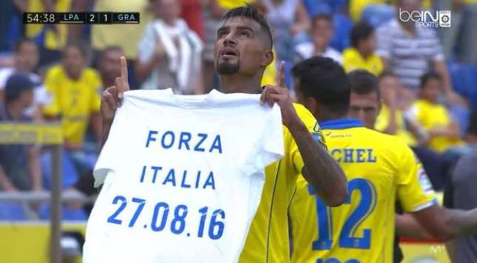 Suspended Ghanaian international Kevin-Prince Boateng has delivered a touching message to the earthquake victims in Italy after scoring in the Spanish top-flight on Sunday.