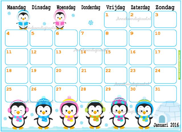 januari 2016 voor kinderen, kalender 2016, 2016 zelf printen, kalender voor kinderen, pinguïn kalender, 2016 kalender, kalender printable, 2016, tuxx 2016