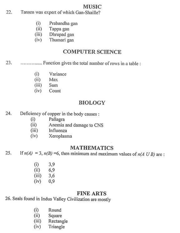Image : HTET Sample Question Paper for Level-3 PGT Maths Music Biology Computer Science 2017 @ TeachMatters