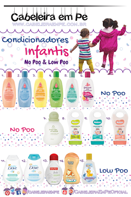 Condicionadores Infantis Liberados para No Poo ou Low Poo (Johnson's, Natura, Huggies, DOve, Fisher Price, Bebe Vida e Soft Fix)