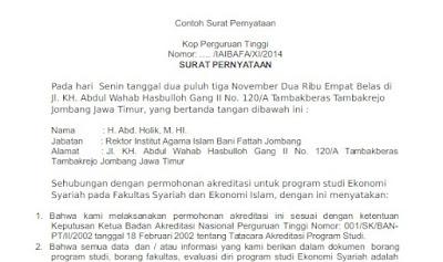 Surat keterangan akreditasi Universitas dari BAN PT