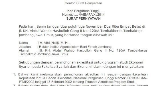 Contoh Surat Keterangan Akreditasi Dari Ban Pt Contohsurat Co