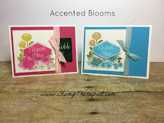 In these hand made gift card holders I used Stampin' Up!'s Accented Blooms stamp set!  I also used the Aqua Painter to color the flowers and the Tailored Tag Punch for the greeting.  All of the details are in the video on the blog!  #StampTherapist #stampinup www.StampTherapist.com