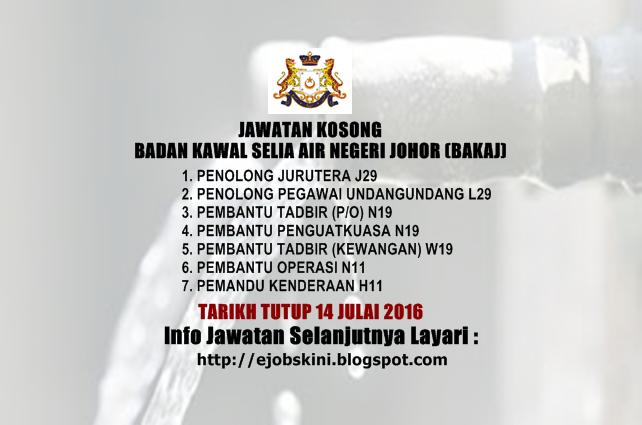 Jawatan Kosong Badan Kawal Selia Air Negeri Johor (BAKAJ)