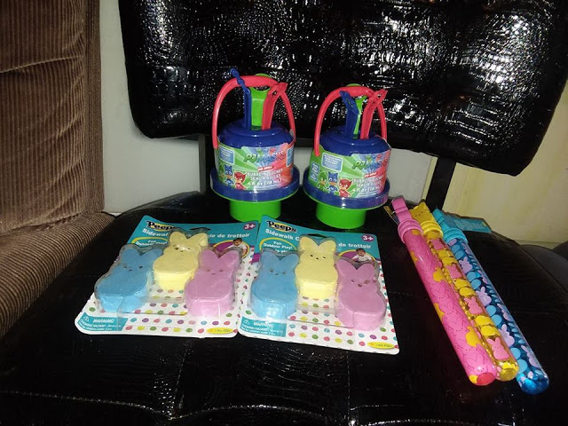 Chitchatmom fill easter baskets with little kids inc products like to have fun with it and add some toys or bubbles in their baskets with homemade chocolate from my mother in law and of course some other candy negle Images