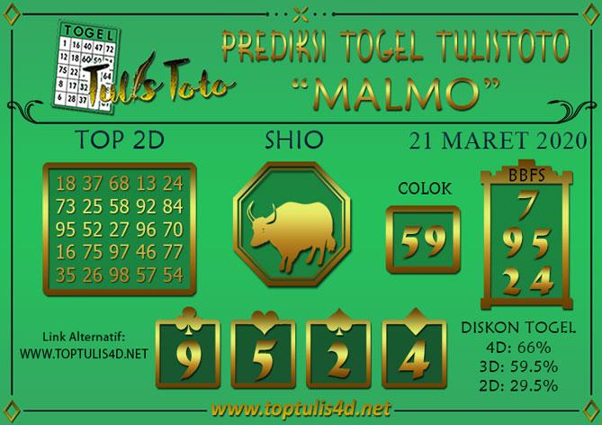 Prediksi Togel MALMO TULISTOTO 21 MARET 2020