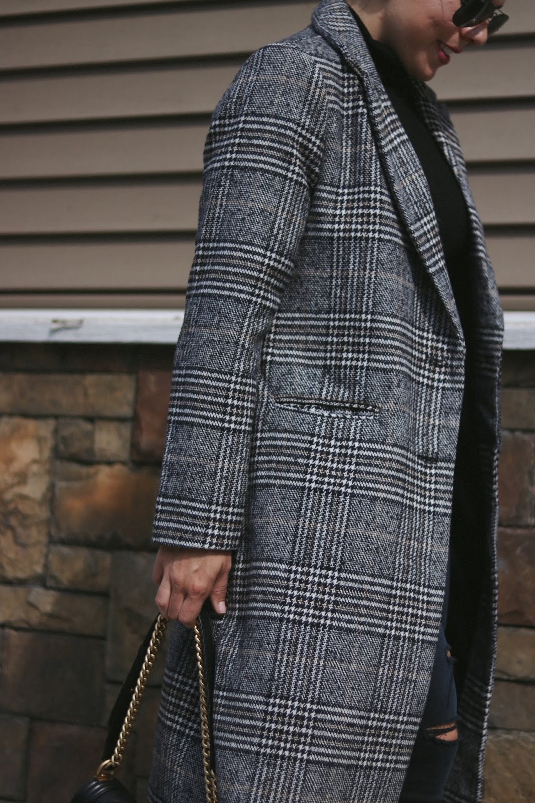 Plaid coat le chateau vancouver fashion blogger cool winter outfit chanel boy