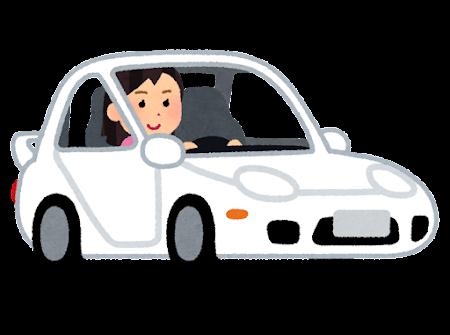 スポーツカーを運転する人のイラスト(女性)