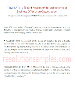 Board Resolution for Acceptance of Business Offer of an Organisation