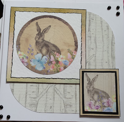 "Rabbits in wooden style frames 7"" square card"