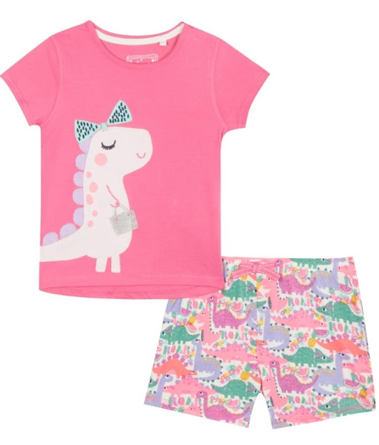 bluezoo Girls' pink dinosaur applique pyjama top and shorts set