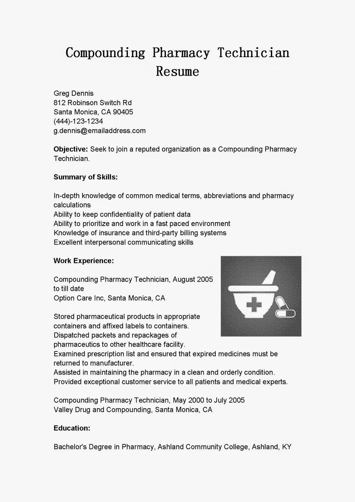 compounding pharmacy resume sample