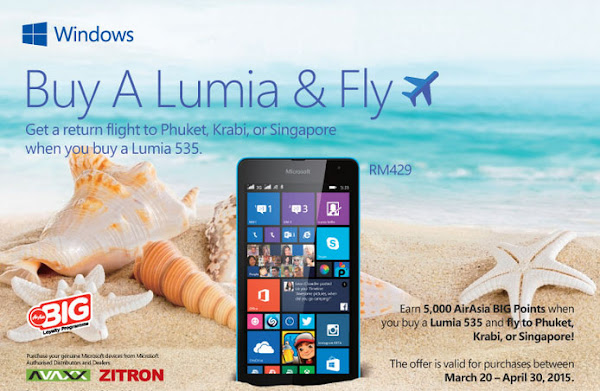 Buy a Microsoft Lumia 535 and get a free return flight on Air Asia
