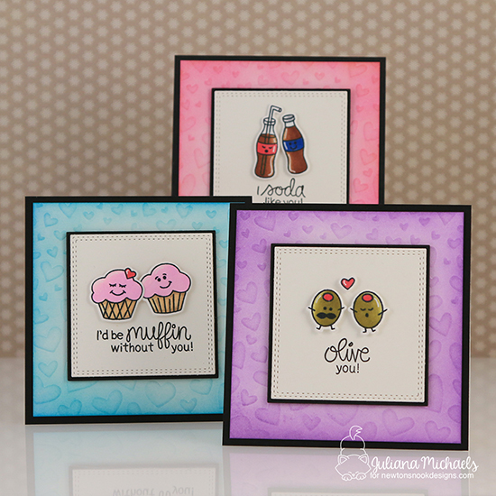 Food Couple Valentine Cards by Juliana Michaels | Love Bites Stamp Set by Newton's Nook Designs #newtonsnook #handmade