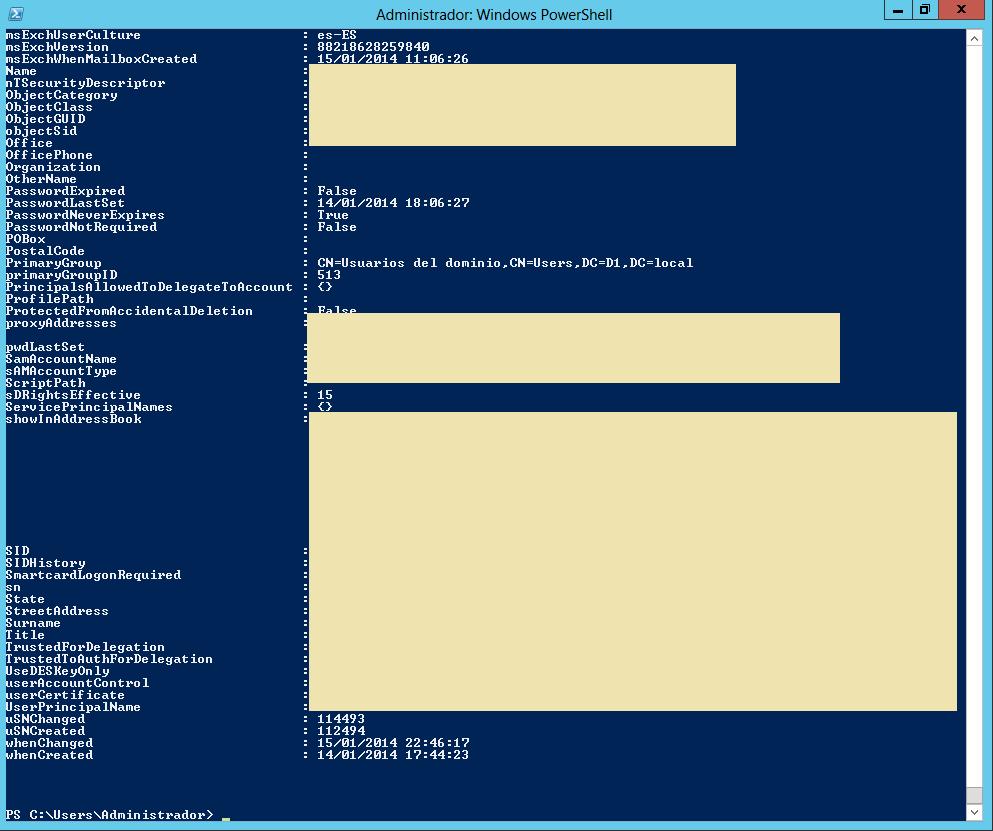 Active Directory: Mostrar todas las propiedades de un usuario con PowerShell