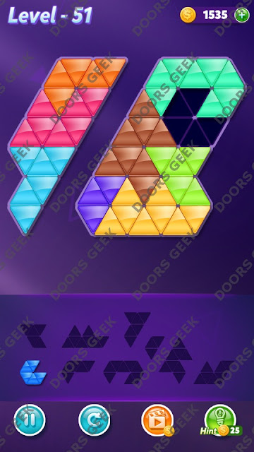 Block! Triangle Puzzle Proficient Level 51 Solution, Cheats, Walkthrough for Android, iPhone, iPad and iPod