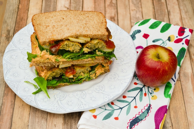 Falafel and Apple Salad Sandwich