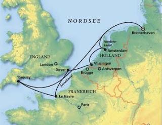 Route Kreuzfahrt Westeuropa mit MS Artania / Kartenquelle: Phoenix Reisen