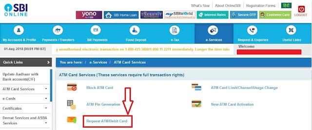 online sbi atm debit card pane ke liye process