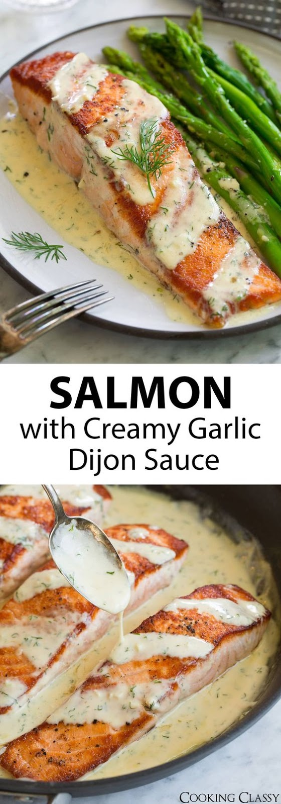 Pan Seared Salmon with Creamy Garlic Dijon Sauce