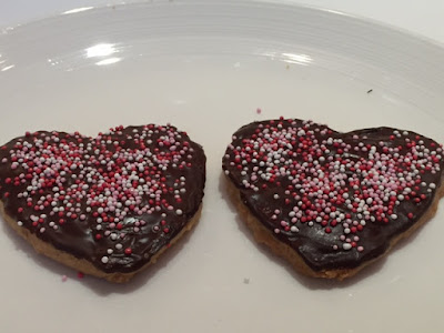 Valentine's Choc Chip Shortbread Biscuits on a plate