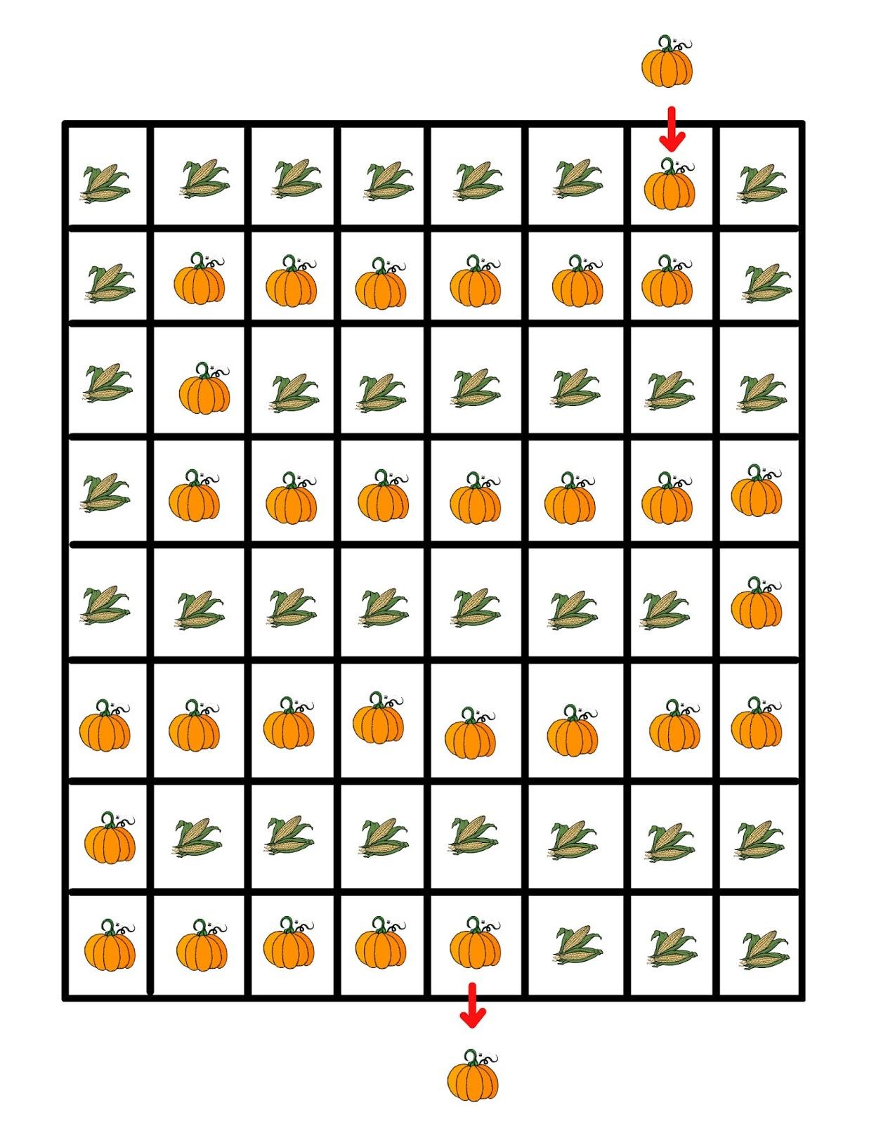 Free Preschool Pumpkin Mazes