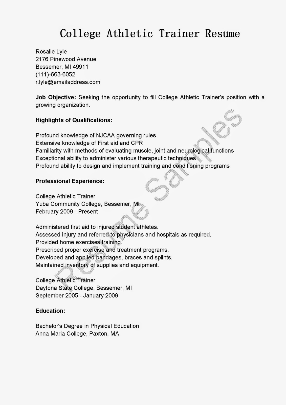 Resume Samples College Athletic Trainer Resume Sample