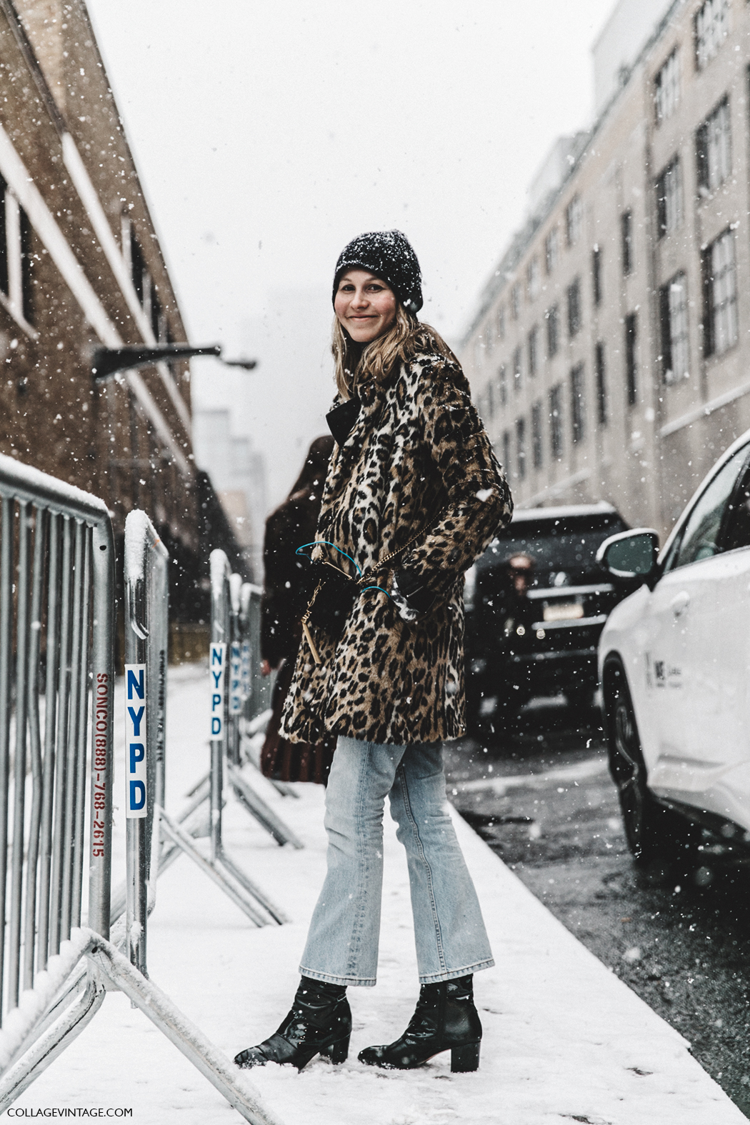 Step Up Your Snow Day Style With a Leopard-Print Coat  — Winter Street Style Outfit