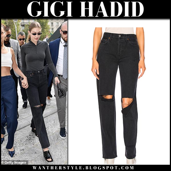Gigi Hadid in black ripped knee jeans re/done milan fashion week style september 19
